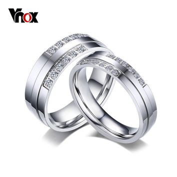 Vnox His and Hers Wedding Rings Sets Shiny CZ Stone Silver-Color Engagement Rings for Women Men Meaningful Gift Jewelry