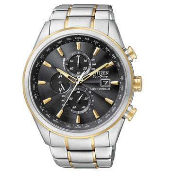 Citizen AT8014-57E Men's World Chronograph A-T Black Dial Two Tone Steel Dive Watch