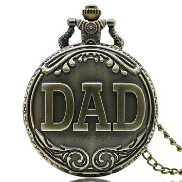 Antique DAD Pocket Watch Pendant Necklace Bronze for Men Father's gift