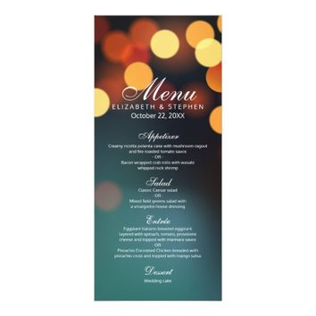 Teal Gold Bokeh Glitter String Lights Wedding Menu