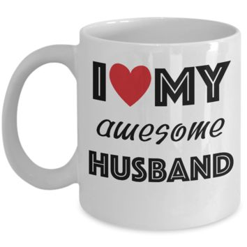 I Love My Awesome Husband Red Heart Mug ~ Valentine's Day Romantic Anniversary Gift