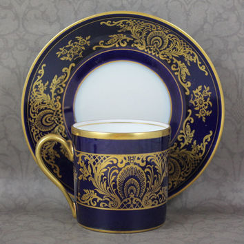 Vintage Rosenthal Germany Blue Enamel and Gold Gilt Demi Tasse Cup and Saucer
