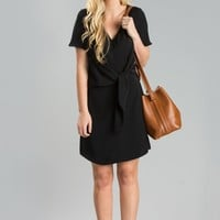 Lynn Black Knotted Shift Dress