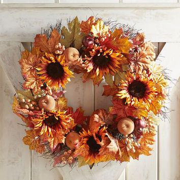 "Faux Sunflowers Oversized LED Pre-Lit 26"" Wreath"