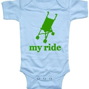 My Ride Stroller Bodysuit  short sleeve blue BABY BOY One Piece Size 0 to 6 or 6 to 12 Months