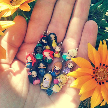 Princess Disney charm inspired , only charm,choose your favorite. Clay charm. Disney jewelry. Ariel,Merida,Belle,Elsa,Rapunzel,Mulan,Jasmine