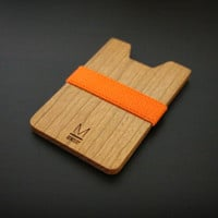 Orange color strap with wooden wallet / Minimalism, Simple, Thin and Light wallet / womens wallet, mens wallet /