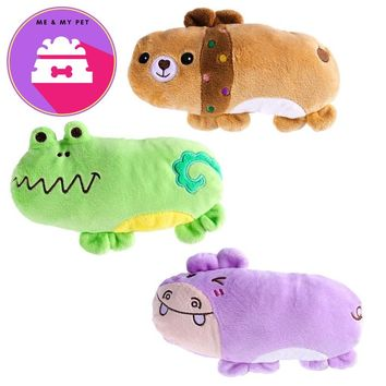 UEETEK 3PCS Pet Products Plush Squeaky Toys Dog Chew Toys Pet Cats Cute Biting Sound Animal Toys Hippo Bear Frog