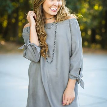 Air Of Romance Grey Off The Shoulder Dress