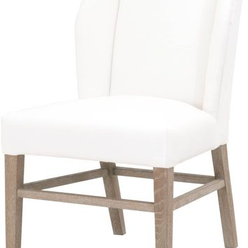 Pearce Dining Chair (Set of 2) Pure White Fabric, Natural Gray