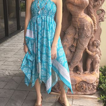 Mogul Womens Dream Believer Dress Handkerchief Hem Recycled Blue Vintage Sari Halter Sundress: Amazon.ca: Clothing & Accessories
