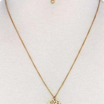 Modern Stylish Brass Dragonfly Pendant Necklace And Earring Set