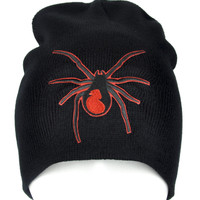 Black Widow Spider Beanie Knit Cap Alternative Gothic Clothing
