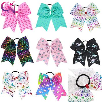 """8 Pieces/lot 7"""" Unicorn Cheer Bows For Kids Girls Handmade Metalic Ribbon Ponytail Hair Bows Valentines Day's Hair Accessories"""