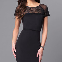 Short Party Dress with Sheer Beaded Neckline and Sleeves