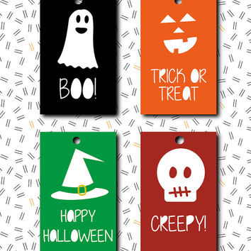 Halloween tag INSTANT DOWNLOAD trick or treat BOO favor label / digital printable pdf / diy party bags decoration goodies thank you card r