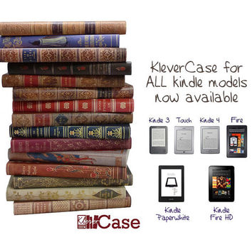"KleverCase Unique Hard Back Book Cover for Kindle Touch, Paperwhite, 3 (keyboard), Kindle 4 6"", Kindle Fire and New Fire HD- UK Handmade"