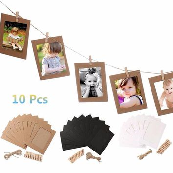 10 Set Vintage Paper Photo Frame DIY Wall Picture Hanging Album Rope Clip Home Creative Gift High Quality clips