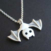 Bat Necklace Halloween Jewelry Vampire Goth sterling silver