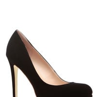 Black Faux Suede Round Toe Pumps
