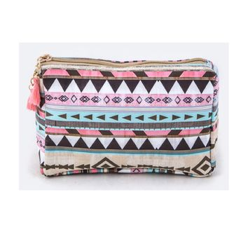 Multicolor Tribal Print Cosmetic Bag