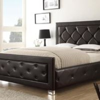 Kindell Dark Brown Queen Upholstered Bed with Tufted Frame by Coaster