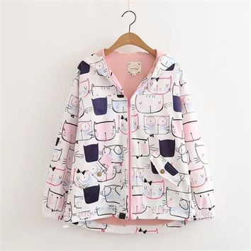 Trendy MERRY PRETTY Autumn New Women Jackets Preppy Style Cute Cat Printed Hooded Long Sleeve Jacket Harajuku Coat Mori Girl Outwear AT_94_13