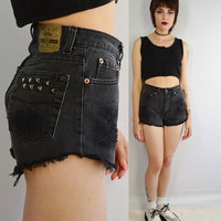 Jordache High Waist Shorts Cutoff Black Studded Holes 90s Distressed Destroyed Vintage Black Denim Frayed Sz 25 Soft Grunge Clothing Womens
