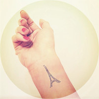 2pcs Eiffel Tower Paris Tattoo - InknArt Temporary Tattoo Set - pack tattoo quote wrist ankle body sticker anchor fake tattoo