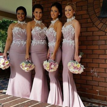 Dusty Rose Pink Mermaid Bridesmaid Dresses Halter with 3D Flowers Satin Long Plus Size Wedding Maid of Honor Dresses Custom Made