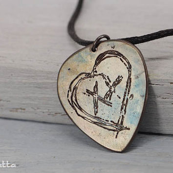 Personalised guitar pick necklace - Pictures, what you want - greenday guitar pick jewelry - metal pick - copper