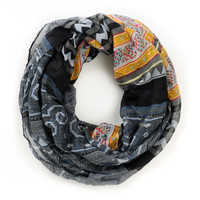 D&Y Mixed Black Tribal Print Infinity Scarf