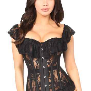 Daisy Corsets Top Drawer Black Sheer Lace Steel Boned Corset