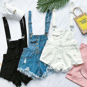 ESBONX5H Fashion women suspenders overalls denim jean shorts romper