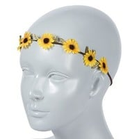 Flower Child Sunflower Garland Stretch Headwrap – Claire's