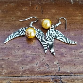 Harry Potter Golden Snitch QUIDDITCH Earrings