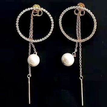 Free shipping-Dior New Circle Diamond Letter Chain Fringe Pearl Stud Earrings