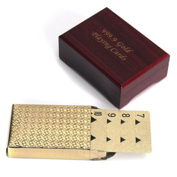 Gold Plated Poker Playing Cards With Wooden Box For Party Casino Christmas Gift Novelty Toys For Adult