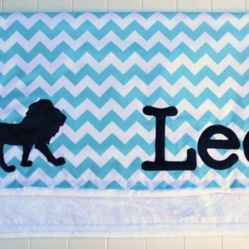 Lion Baby Blanket, Aqua and Navy Monogrammed Blanket, Chevron Baby Blanket