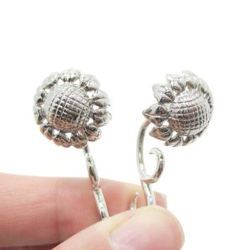 Fake Gauge Earrings: 3D Sunflower Floral Flower Shaped Earrings in Silver