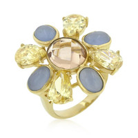 Multi-cubic Zirconia Floral Golden Ring, size : 08