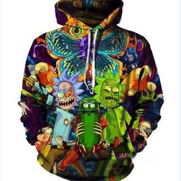 Newest Fashion Womens/Mens Harajuku Style Cartoon Rick and Morty Funny 3D Print Casual Hoodies Pullovers Sweatshirts LMS000122