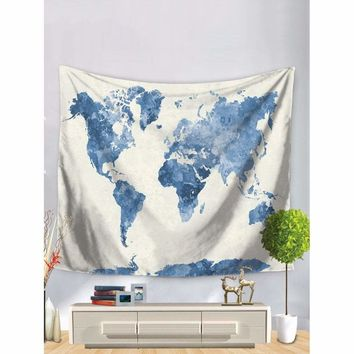 Watercolor Blue World Map Tapestry