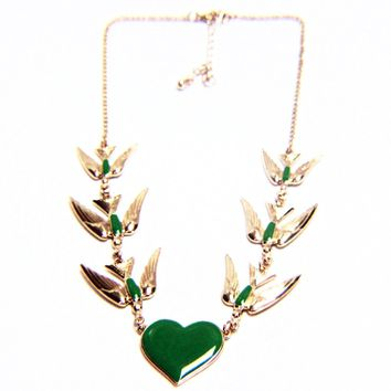 Heart and Dove Bird Enamel Chain Necklace