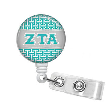 Zeta Tau Alpha Greek Letters Sorority Name Badge ID Holder