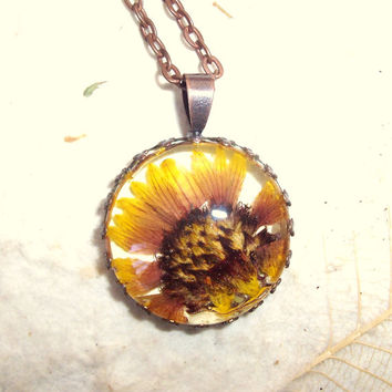 Texas Jewelry Firewheel Indian Blanket Real Pressed Wildflower Copper Necklace
