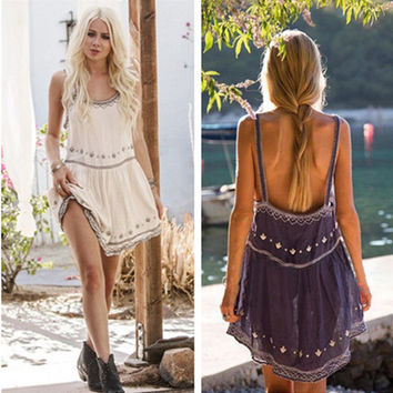 Fashion Casual Boho Embroidery Flower Backless Sleeveless Strap Mini Dress