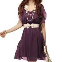 Allegra K Women Butterfly Sleeve Elastic Waist Belted Chiffon Short Dress
