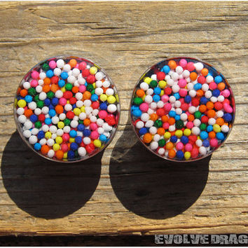 Sprinkle Candy Plugs - 0g, 00g, 7/16, 1/2, 9/16, 5/8, 3/4, 7/8, 1 Inch