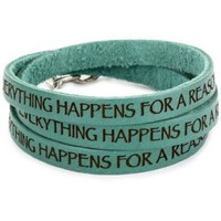 "Dillon Rogers It's a Wrap ""Everything Happens For a Reason"" Teal Leather Bracelet - designer shoes, handbags, jewelry, watches, and fashion accessories 